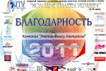 Благодарность за поддержку чемпионата «Молодые таланты Украины»